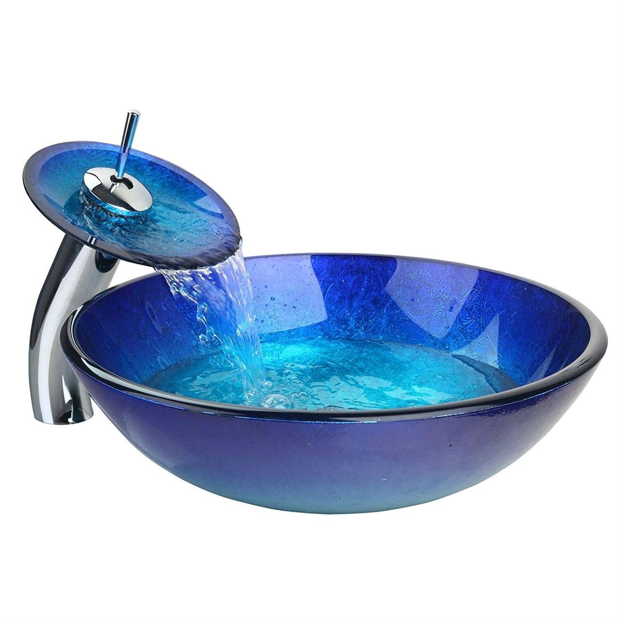 Modern Blue Glass Bathroom Vessel Sink And Faucet With Chrome