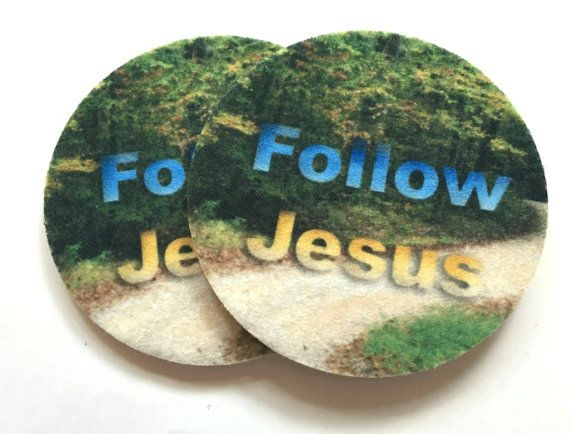 Follow Jesus car coasters  Set of two super by spreadblessings