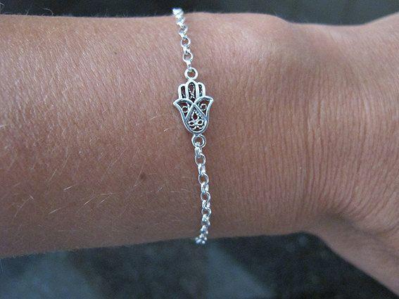 Silver Bracelet Hamsa Sterling Israel