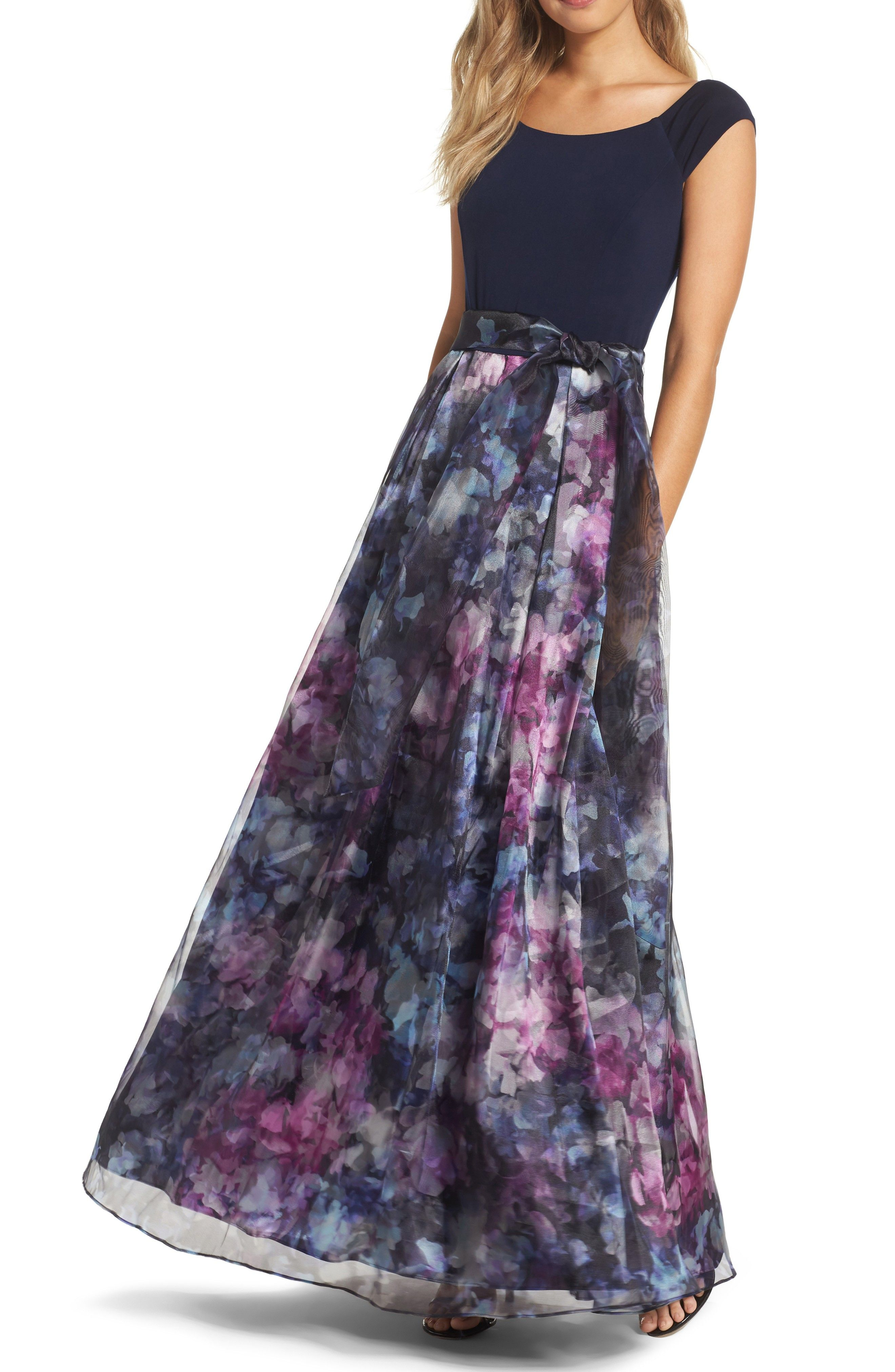 Navy and floral print gown for fall. Mixed Media Ballgown ...
