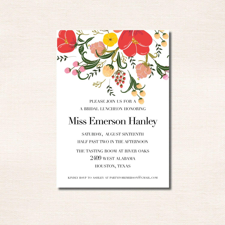 Red Poppy Bridal Luncheon Invitation by seahorsebendpress on Etsy