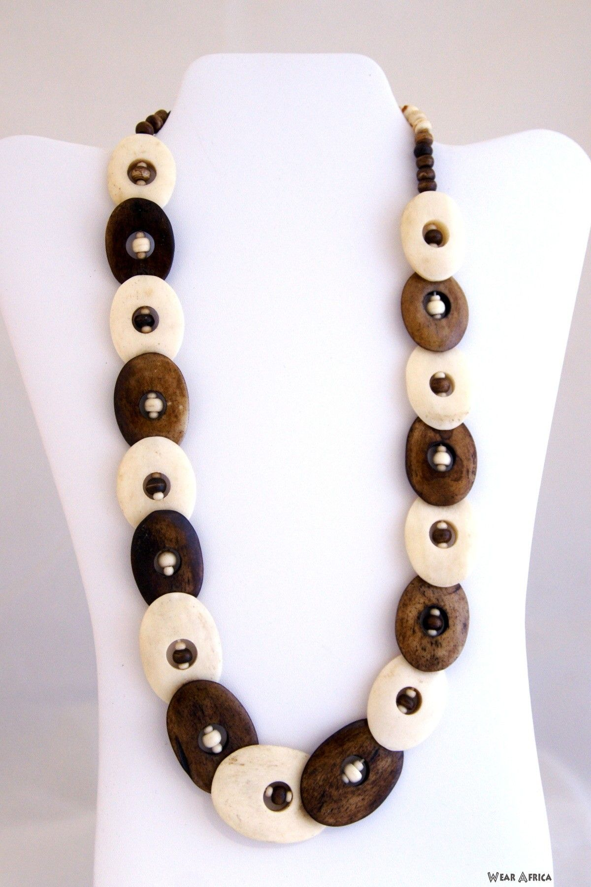B&W Eyed Oval Chain Chain, African jewelry, Beaded necklace