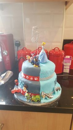 Paw patrolcinderella boygirl half and half birthday cake