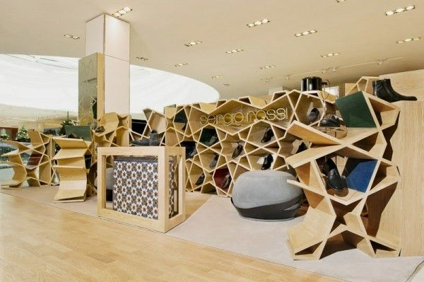 Modern Shoe Store Interior an Ancient Form Design