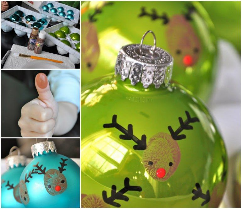 Reindeer Thumbprints Ornaments