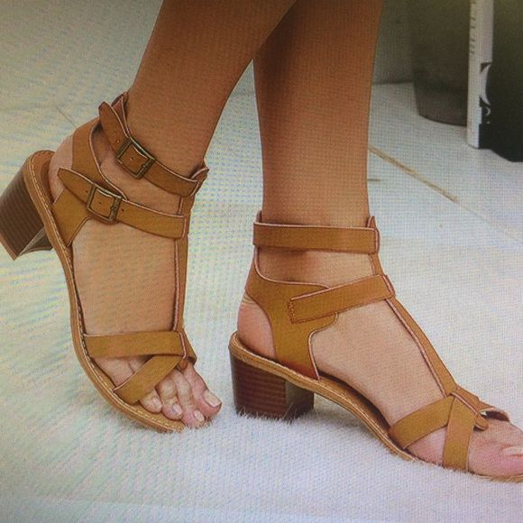 1df18a12cc6 Tan heeled block sandals 2 inch block heel sandal. All vegan made. Worn a  couple times . These are not steve madden. Only here for exposure.