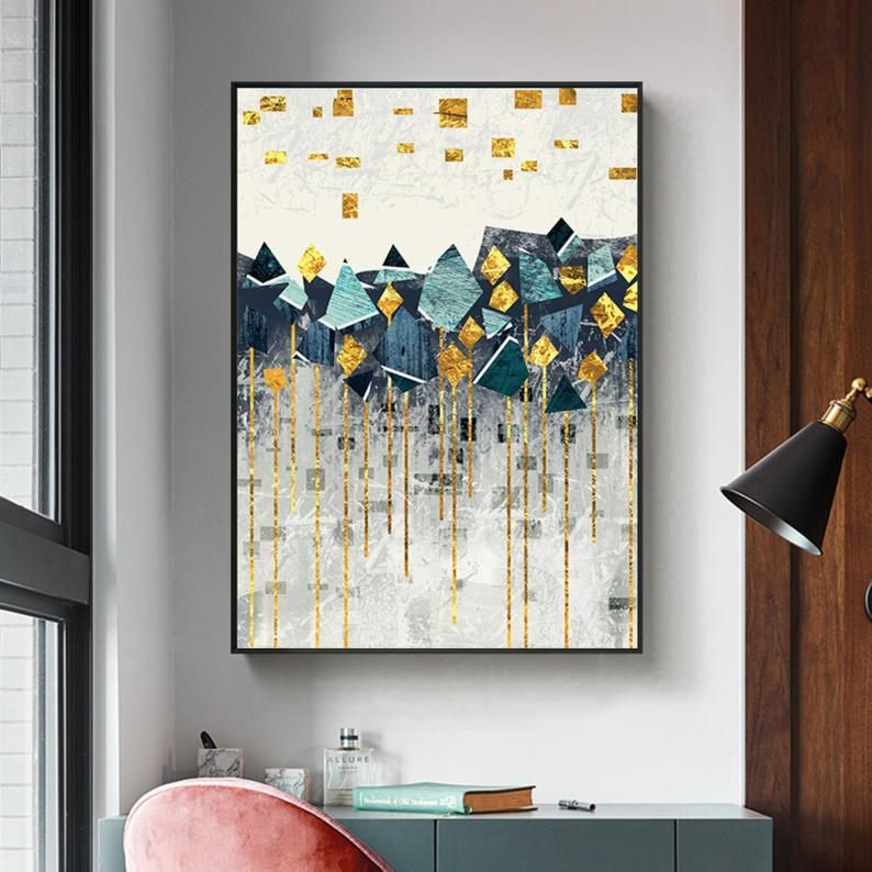 Nordic Abstract Geometric Mountain Landscape Wall Art Canvas Painting Golden Sun Art Poster Print Wall Picture For Living Room Wall Art Canvas Painting Canvas Wall Art Wall Art Painting