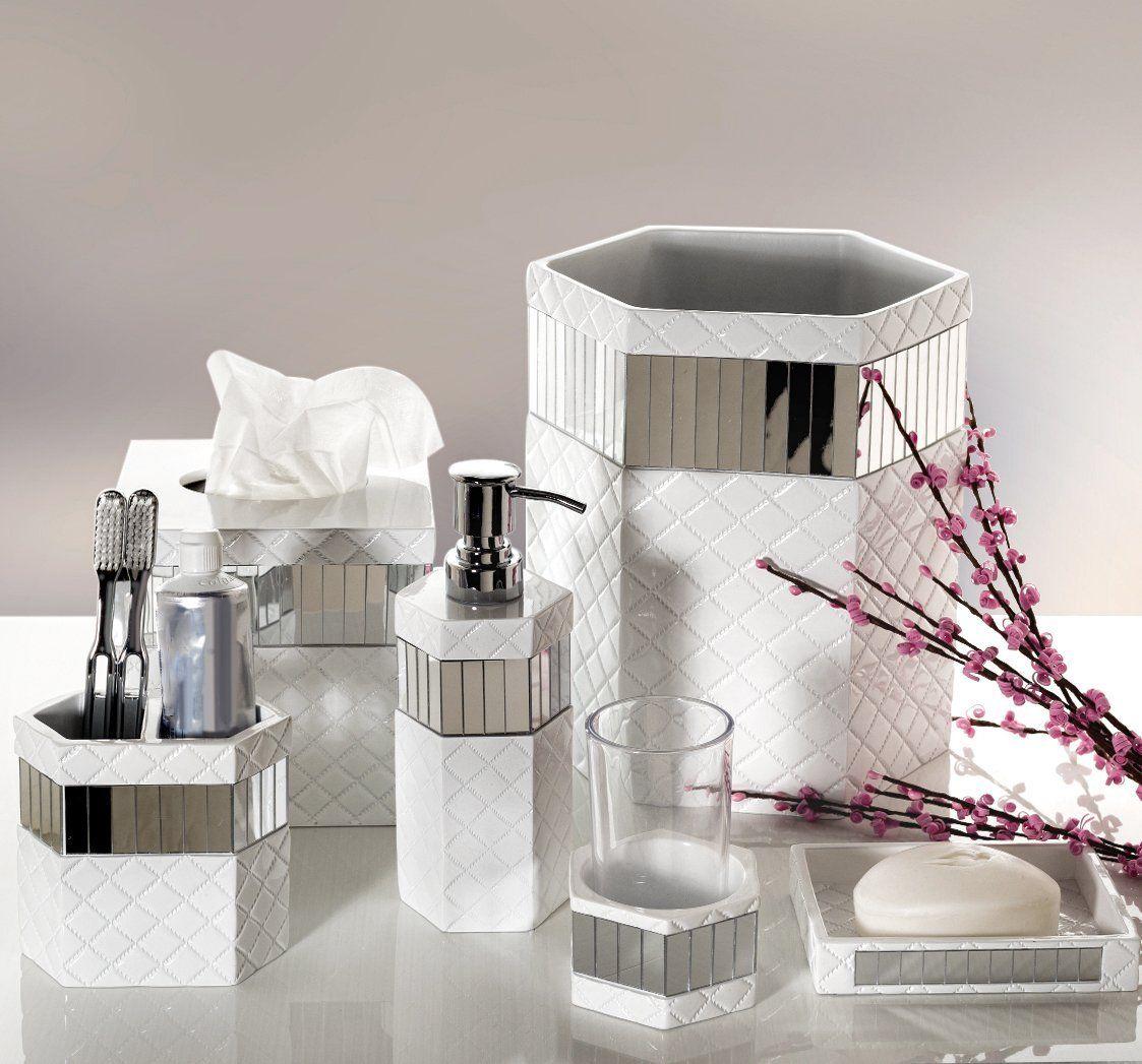 Amazon Com Quilted Mirror Vanity Tray 10 1 X 6 1 X 0 9 Decorative Cosmetics Bathroom Accessories Sets Bathroom Accessories Silver Bathroom Accessories