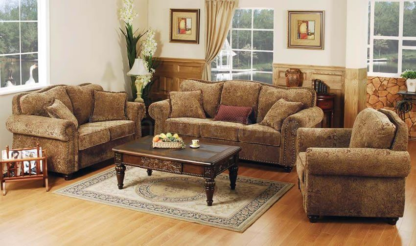 Rustic Indian Furniture Printed Microfiber Living Room Set With