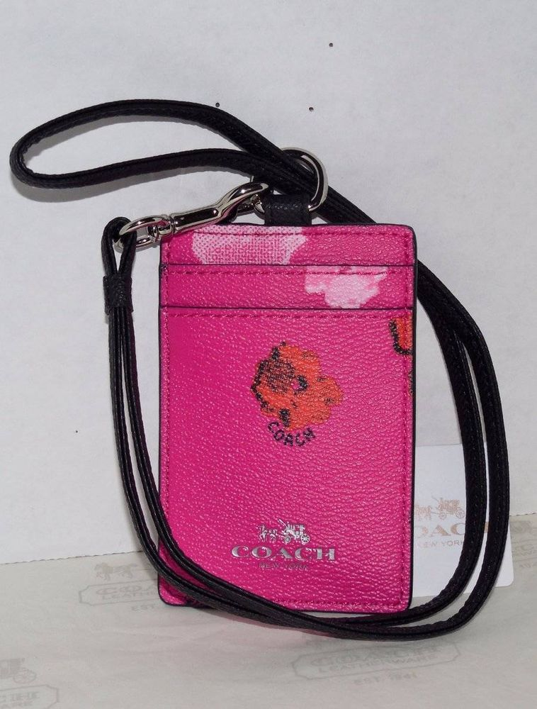 Coach pink orange floral print lanyard badge id credit