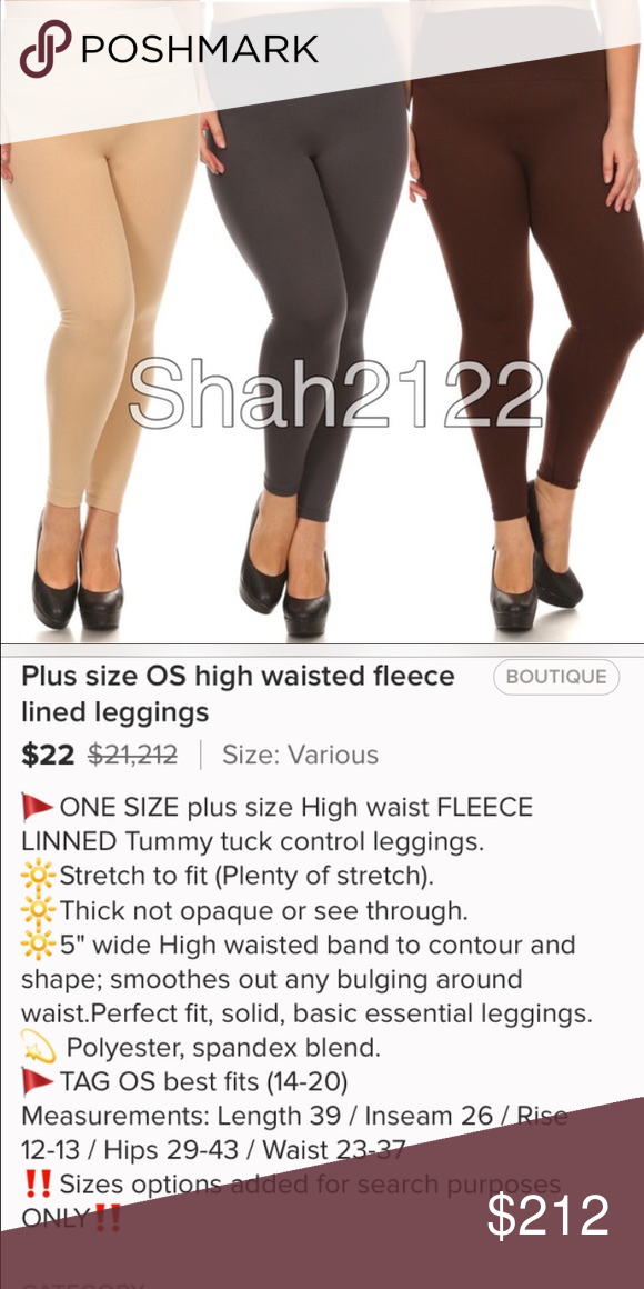 Sold bundle 3 pairs see description Bundle of 3 pairs  1. Beige high waisted leggings- .OS 2. Charcoal high waisted leggings-OS. 3. Brown high waisted leggings-OS, 🌟10% bundle discount has been applied.  $66-10%=$61 Other