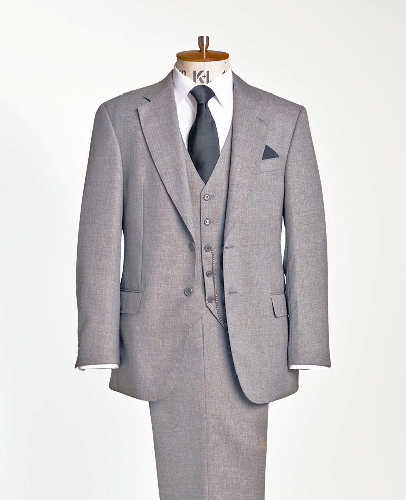 Suit hire direct - Grey pick on pick lounge suit also available in ...