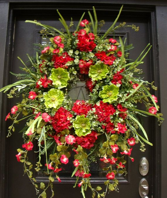 Home D/écor Collection Artificial Spring /& Summer Wreath 24 Flowery Spring Red Co Door Backdrop Ornaments