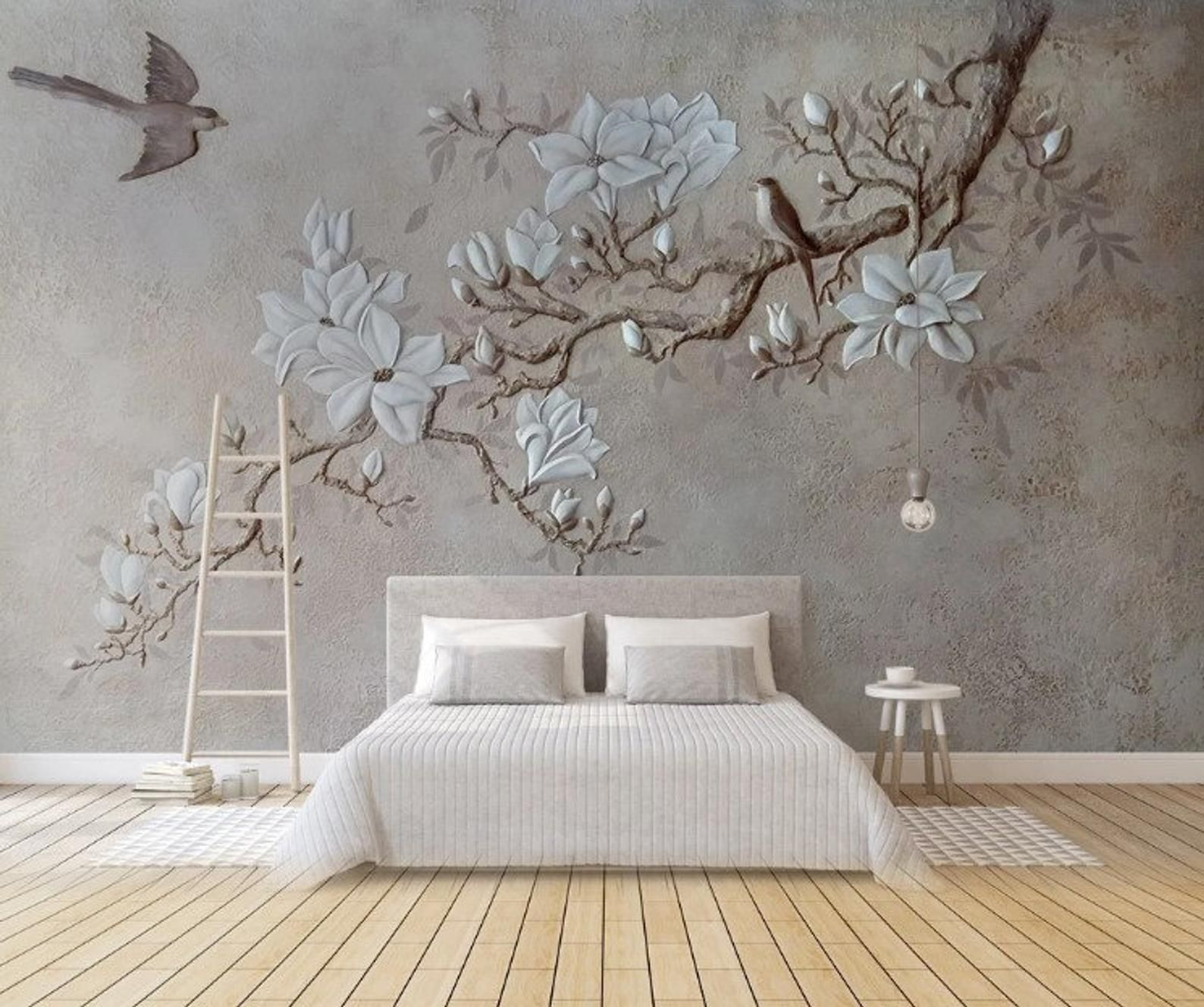3d Tree Branches And Birds Wallpaper Wall Background Wall Etsy Living Room Wall Wallpaper Wall Painting Living Room Grey Mural Wallpaper