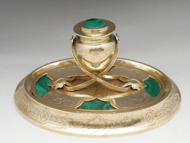 Antique Russian Malachite Inkwell Ormolu Bronze