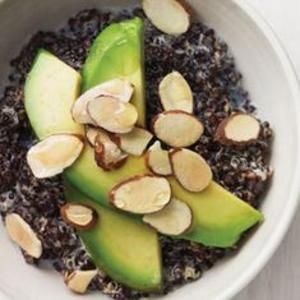Firm black quinoa is a healthy #glutenfree alternative hot cereal. Recipe from Whole Living, found at www.edamam.com