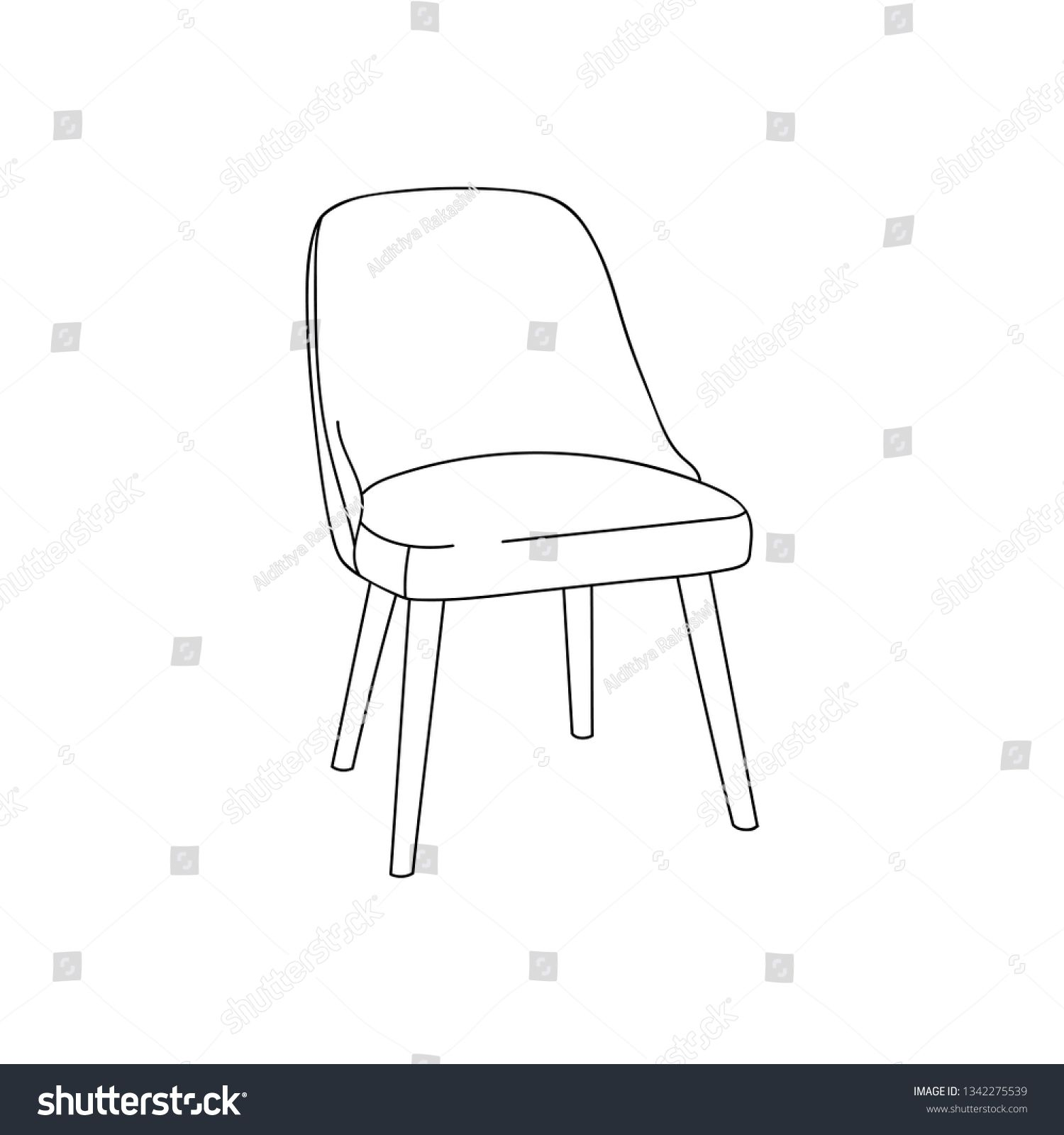 Dining Chair Furniture Simple Outline Illustration Isolated Clip Art Vector Ad Spon Simple Outline Furniture Dining In 2020 Furniture Chair Dining Chairs Chair