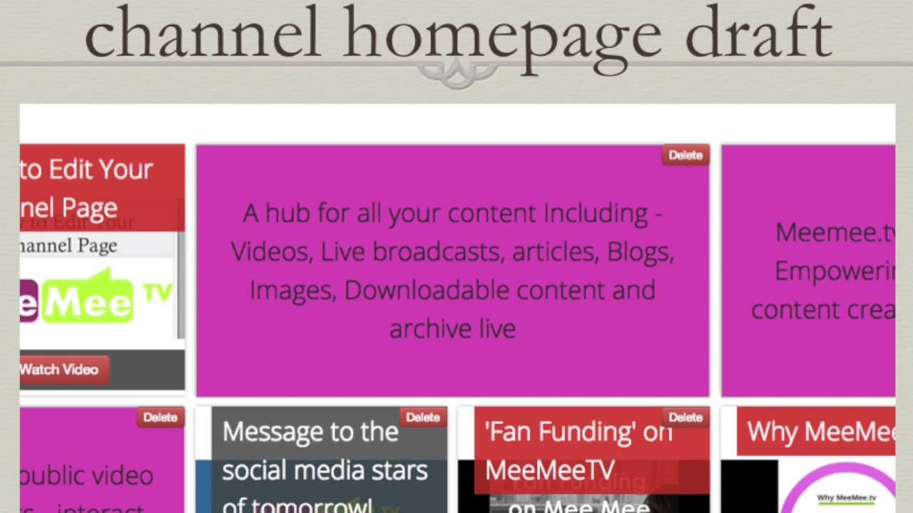 How To Edit Your Meemee Tv Channel Homepage Online Tv Channels