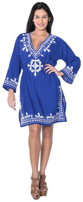 7a9ce6419a20e La Leela Embroidered Rayon Beach V Neck Cover Up Tunic Kaftan White Royal  Blue