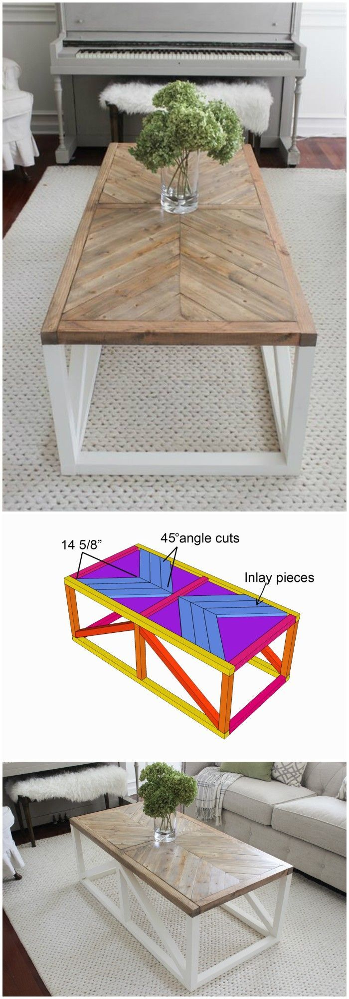 Photo of How to Build a Modern Farmhouse Coffee Table | Classic square coffee table with lacquered base and rustic, spotty table top, complete with shelf Perfect for living room with sections! – coffee table | 2019