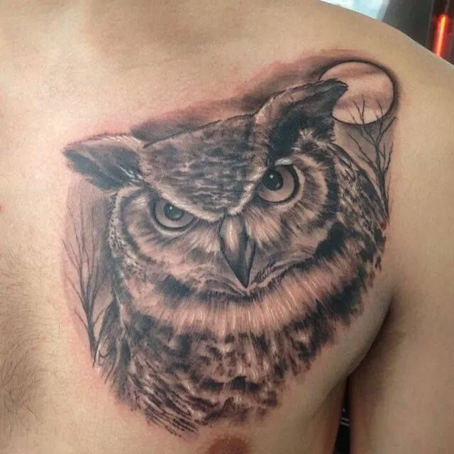 Great Horned Owl Black And Grey Tattoo My first tattoo, Great...