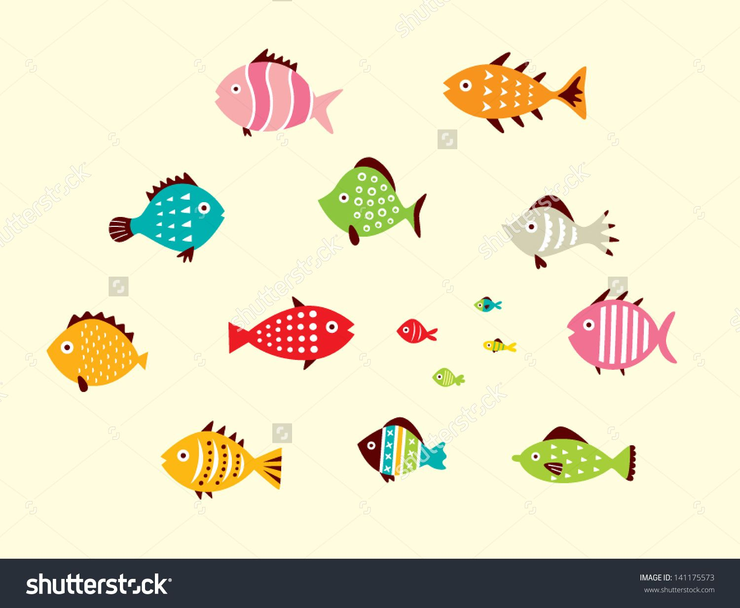 Cute fish vector swimming pool mural pinterest fish for Cute freshwater fish