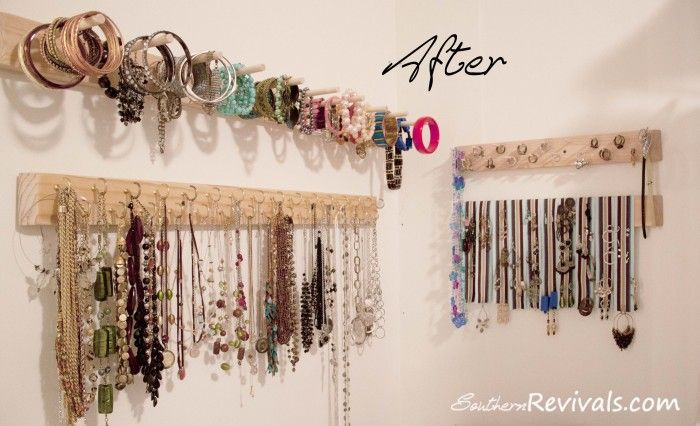 Diy Built In Jewelry Organizer Southern Revivals Diy Jewelry Holder Jewelry Organizer Diy Hanging Jewelry Organizer