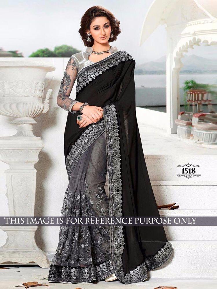 Partywear Saree Designer Sari Wedding Reception Heavy Bollywood