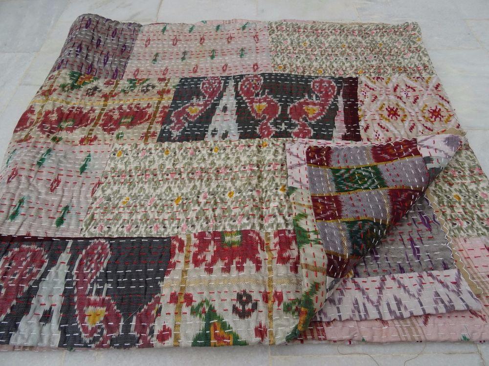 Vintage Quilt Old Patola Indian Silk Sari Kantha Quilted Patchwork Bedspread boh #Handmade