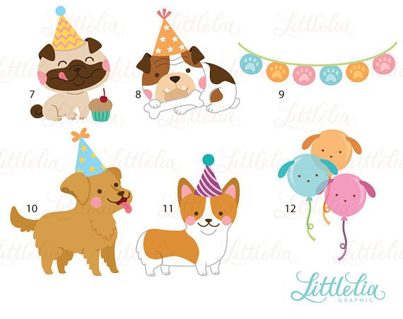 Dog Party Party Clipart Dog Clipart 17034 Etsy Dog Party Party Clipart Pet Scrapbook