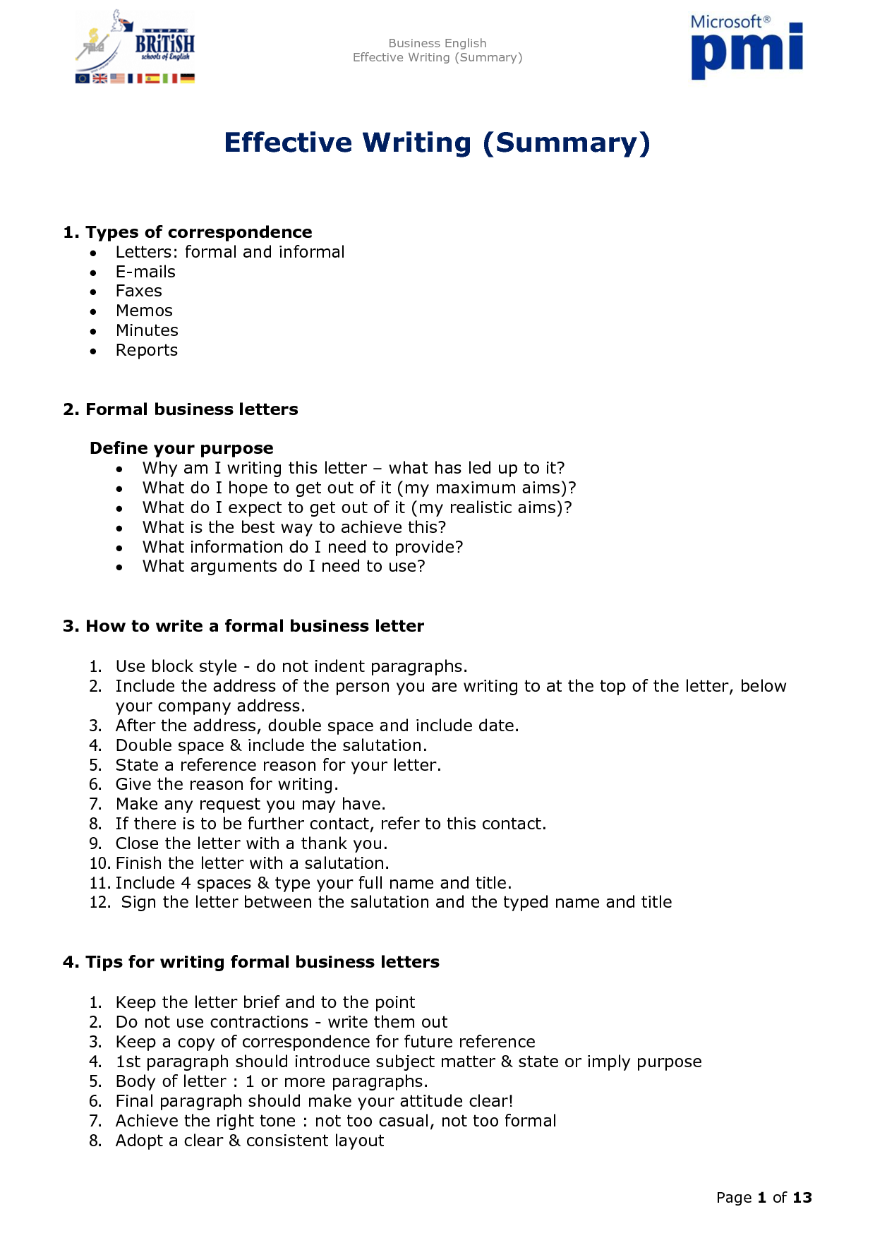 Business letter and report writing