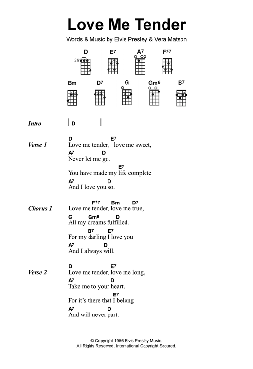 Love Me Tender Sheet Music By Elvis Presley Ukulele Lyrics Chords