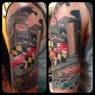 This Guy S Arm Maryland Tattoo Tattoo Sleeve Men Budist Tattoo