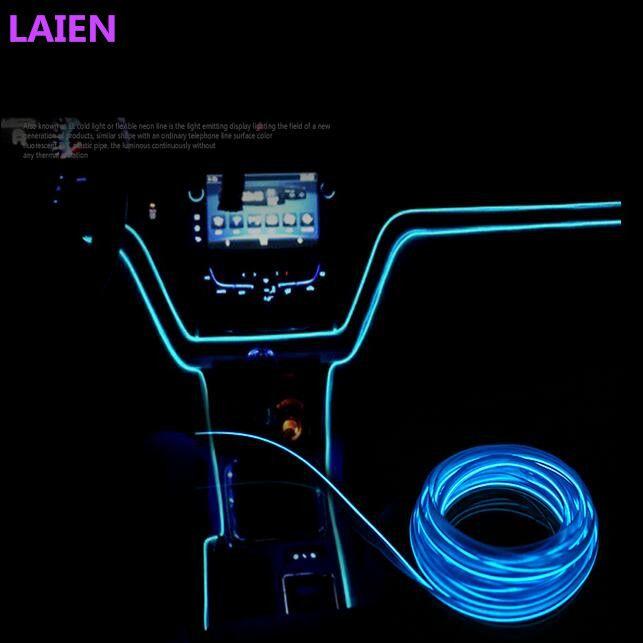 universele 23mm 3 m 10 kleuren auto styling flexibele neon licht el draad touw auto decoratie strip met controller gratis verzending