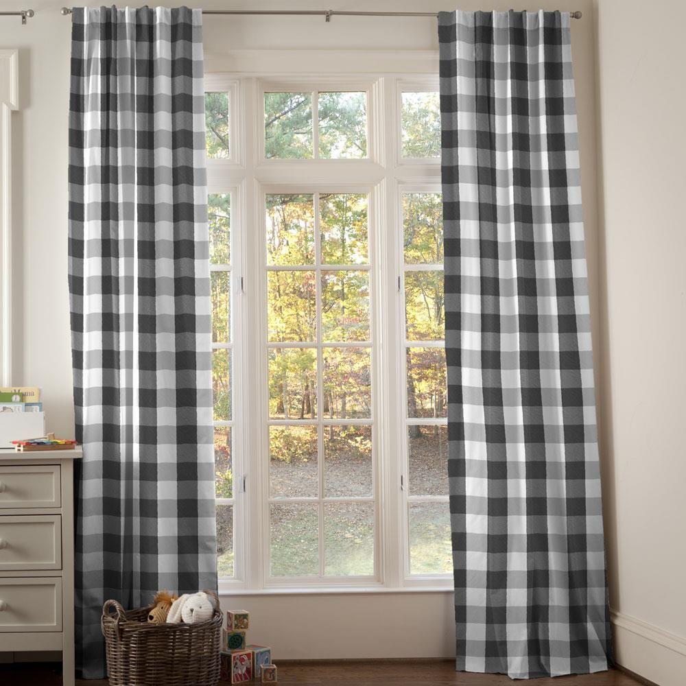 Onyx And Cloud Gray Buffalo Check Drape Panel Buffalo Plaid Curtains Buffalo Check Curtains Carousel Designs