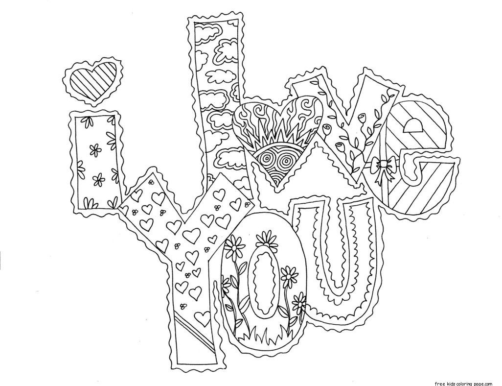 Coloring pages for adults valentines day - Tell Your Sponsored Child How Much You Love Them With This I Love You Printable Coloring Page Valentines Day