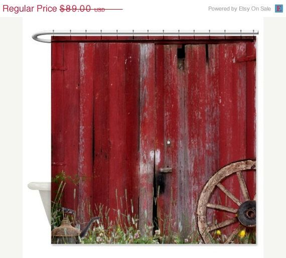 On Sale Shower Curtain Rustic Barn Door With Wagon by FolkandFunky