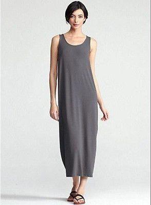 e4d65fbf9a2961 Eileen Fisher Scoop Neck Viscose Jersey Oval Tank Dress Graphite Gray S