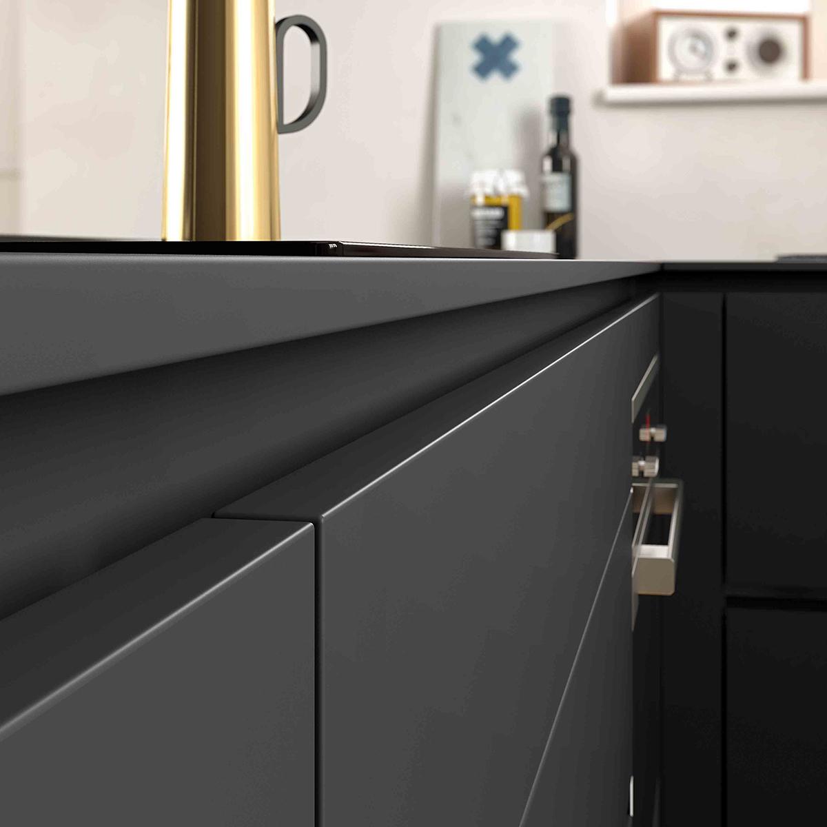 Une cuisine élégante avec des meubles sans poignée  #Cuisine