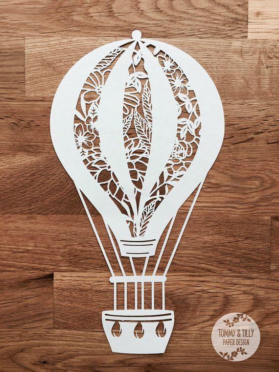 Blumenmuster Heißluftballon - Papercut Vorlage   Maschine geschnitten   Cricut Silhouette   SVG Dxf Png Jpg   Hochzeit   Romantische   Papierschnitt