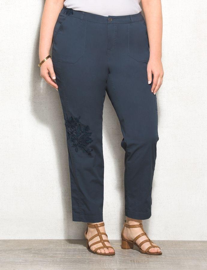 94fcf2fb89 dressbarn WESTPORT Plus Size Embroidered Poplin Cargo Pants ...