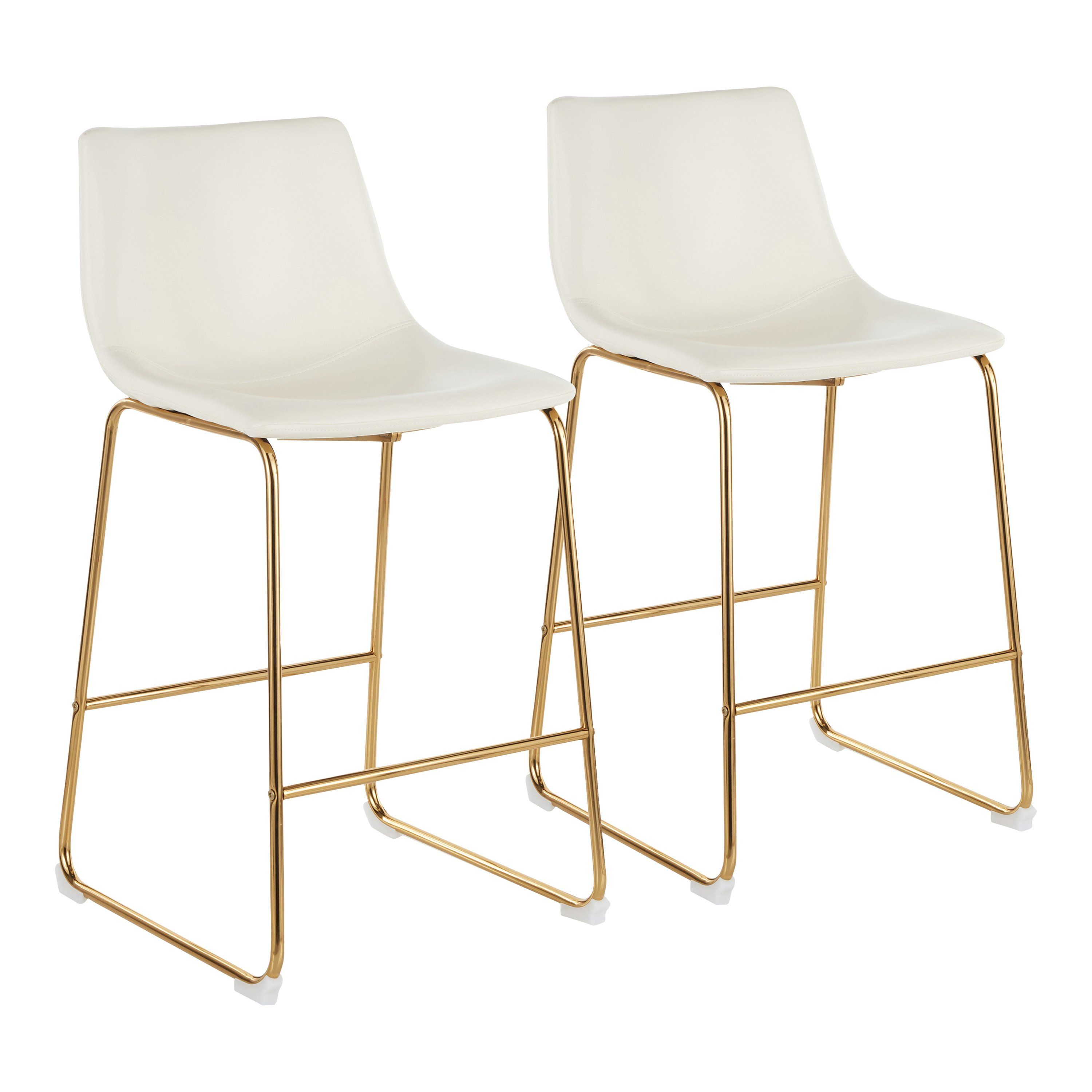 Contemporary White And Gold Counter Height Stool Set Of 2 Duke Leather Counter Stools Counter Stools Contemporary Counter Stools