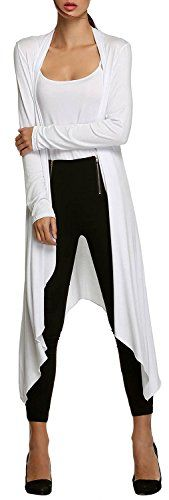 URBAN K Women's Long Sleeve Asymmetrical Drape Open Front Long Maxi Cardigan