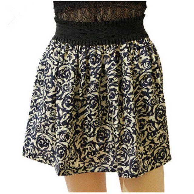 2015 New Summer Skirt Vintage Pleated Skater Skirt Printing Short Skirts Womens Saias Femininas Fashion Faldas Skirts Female