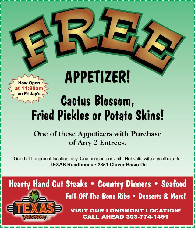 Texas roadhouse coupons free appetizer printable