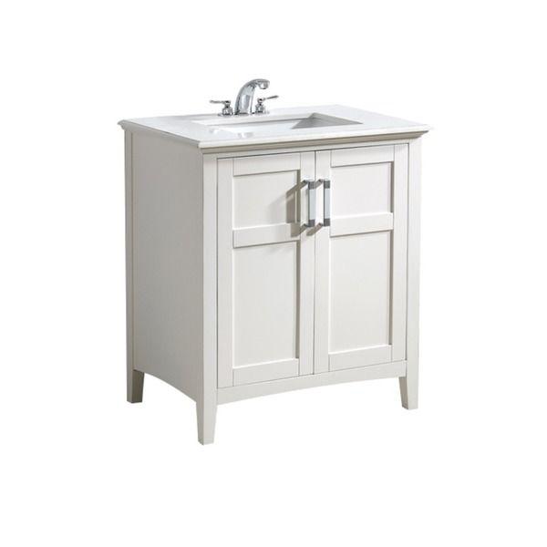 Bathroom Vanity 30 Inch wyndenhall salem white 2-door 30-inch bath vanity set with white