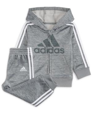 17fc2b28b71e adidas Baby Boys 2-Pc. Fleece Hoodie   Jogger Pants Set - Gray 12M ...