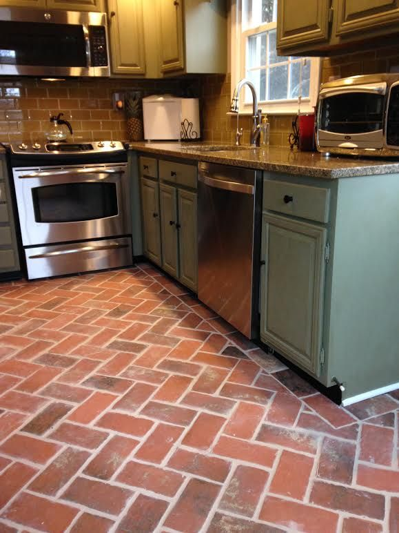 This Brick Tile Kitchen Floor Is The Wright S Ferry Brick Tiles In The Providence Color Mix Kitchen Flooring Kitchen Floor Tile Brick Floor Kitchen