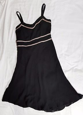 Adrianna Black Evening Brand Gown Dress Size 16 with Spaghetti Straps