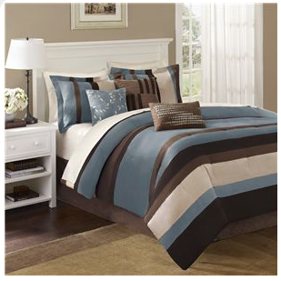 Post Image For Blue And Brown Bedding Microsuede 7 Pc Comforter Set Queen King Cal